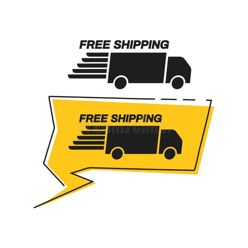 Gratis verzending met pictogram van vrachtwagen in bellenspeech jaafje stock illustratie