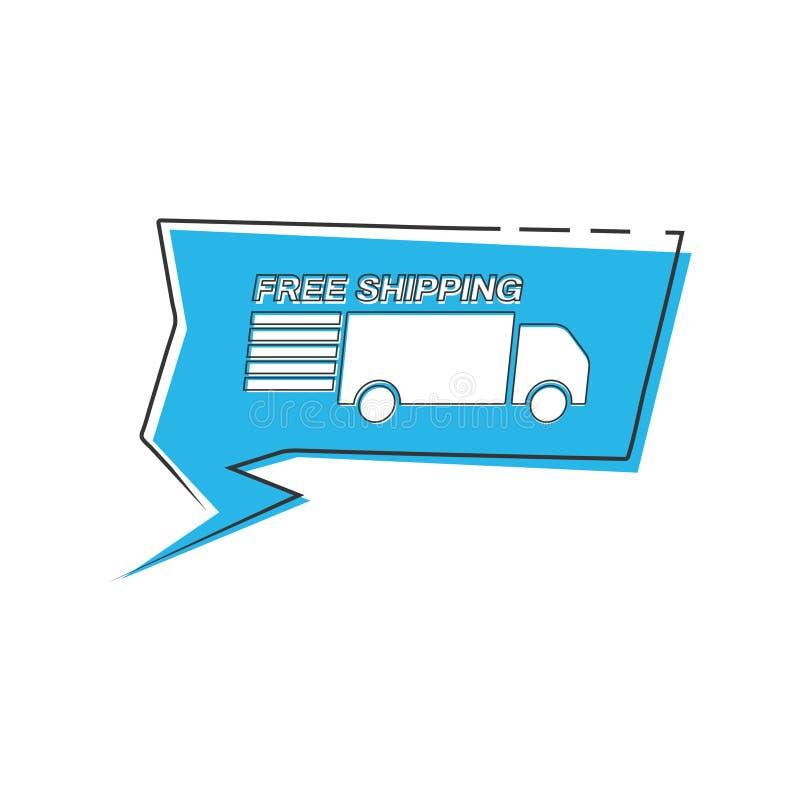 Gratis verzending met pictogram van vrachtwagen in bellenspeech, jaag het productlogo uit royalty-vrije illustratie