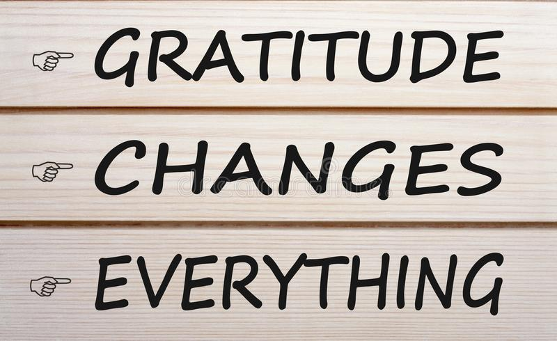 Gratitude Changes Everything. Written on wood wall decor royalty free stock photography