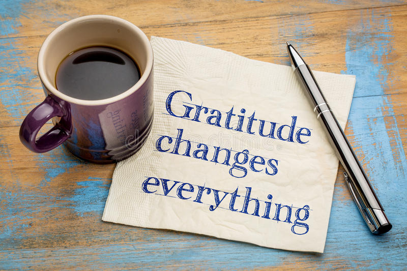 Gratitude changes everything stock photography