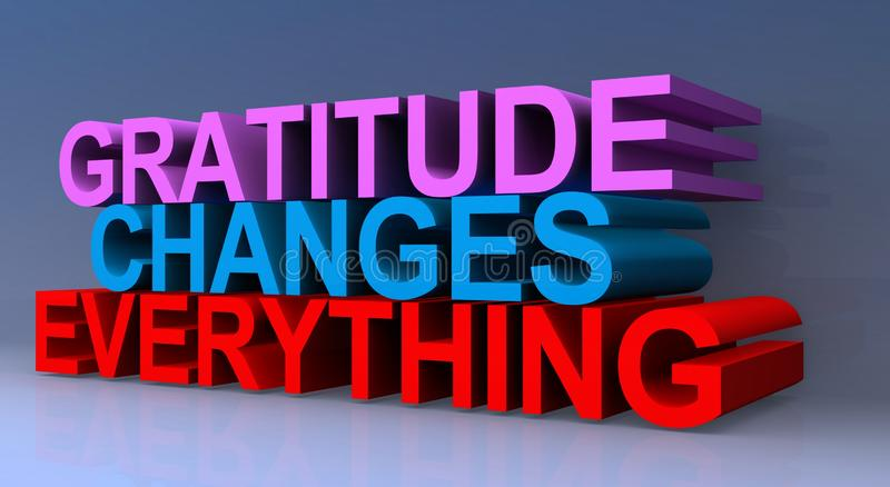 Gratitude heading. Gratitude changes everything heading on blue background vector illustration