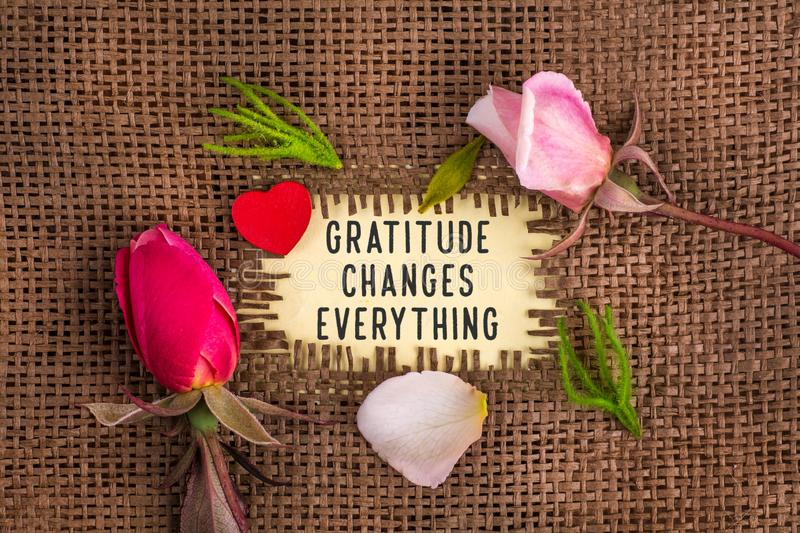 Gratitude changes everything written in hole on the burlap. With rose flowers and wooden red heart stock photography
