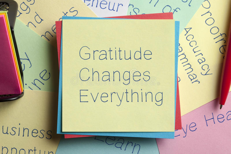 Gratitude Changes Everything written on a note stock photo