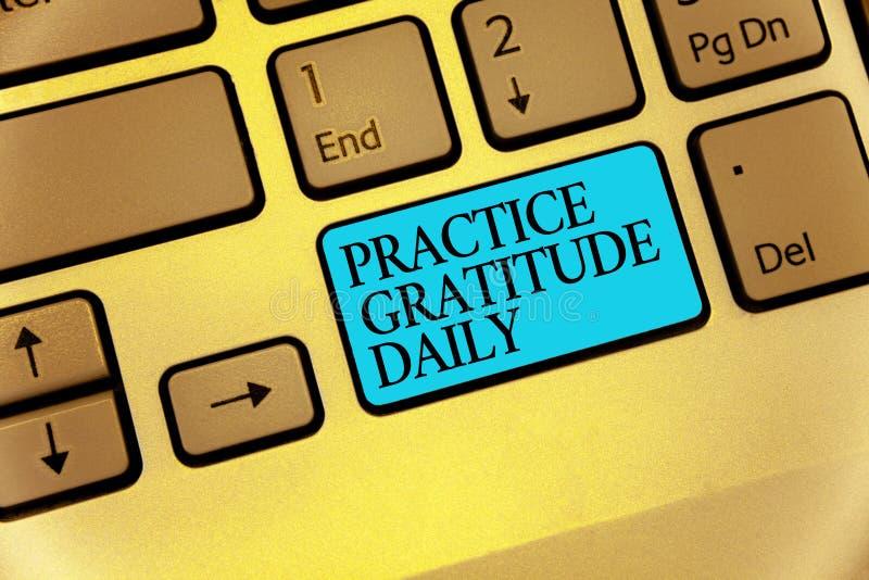Gratitude da prática do texto da escrita da palavra diária O conceito do negócio para seja grato àqueles que ajudaram encouarged  ilustração do vetor