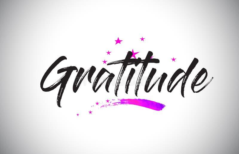 Gratitude Handwritten Word Font with Vibrant Violet Purple Stars and Confetti Vector. Gratitude Handwritten Word Font with Vibrant Violet Purple Stars and stock illustration