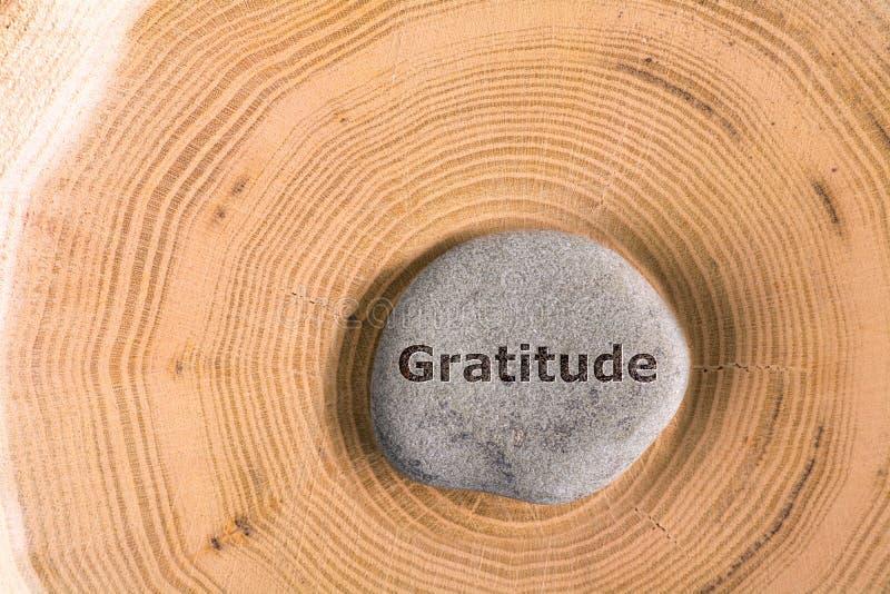 Gratitude in stone on tree stock photo