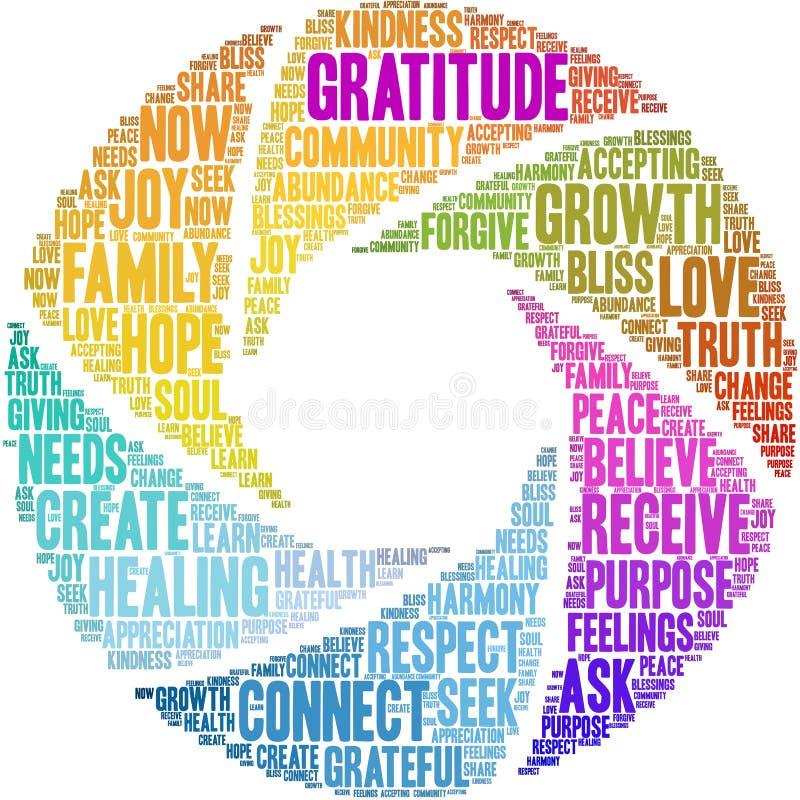 Gratitude Word Cloud stock illustration