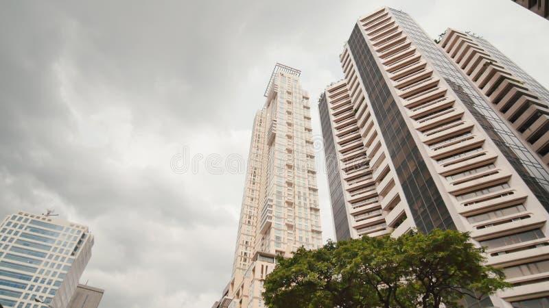 Grattacieli contro il contesto delle palme Fucilazione nel moto Distretto di Makati a Manila filippine fotografia stock libera da diritti