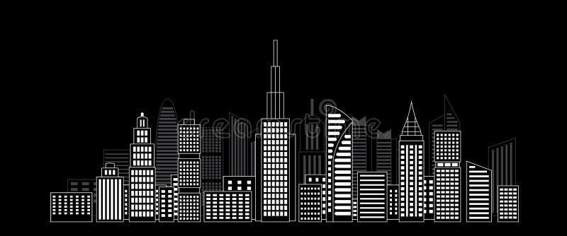 Grattacieli della città nella notte scura immagine stock