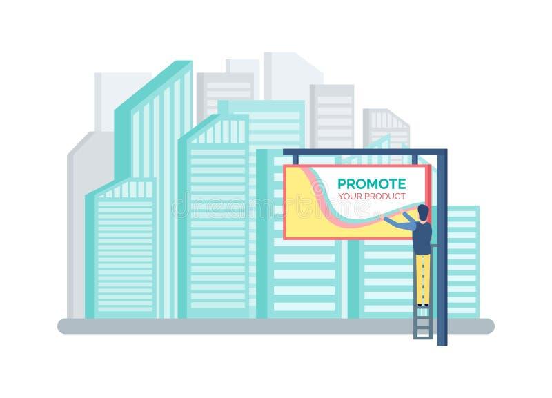 Grattacieli e tabellone per le affissioni, annuncianti promozione royalty illustrazione gratis