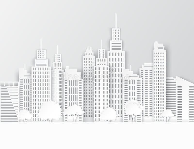 Grattacieli ed alberi del Libro Bianco illustrazione vettoriale