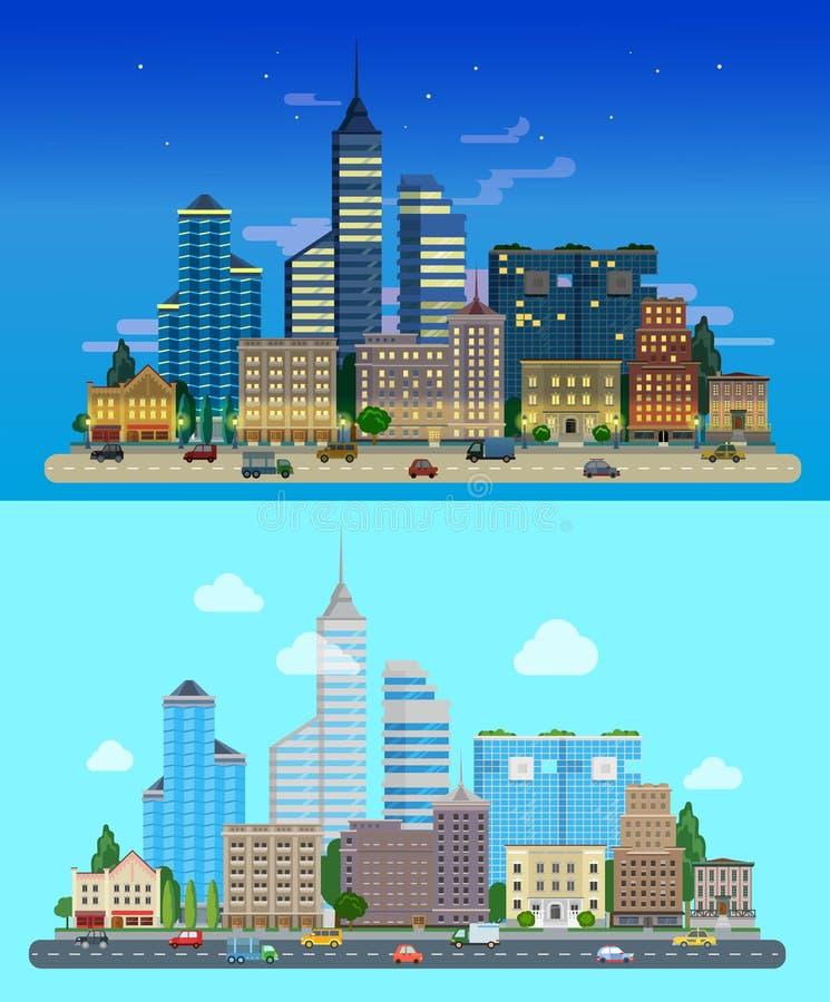 Grattacieli piani giorno e notte della città di vettore di stile illustrazione di stock