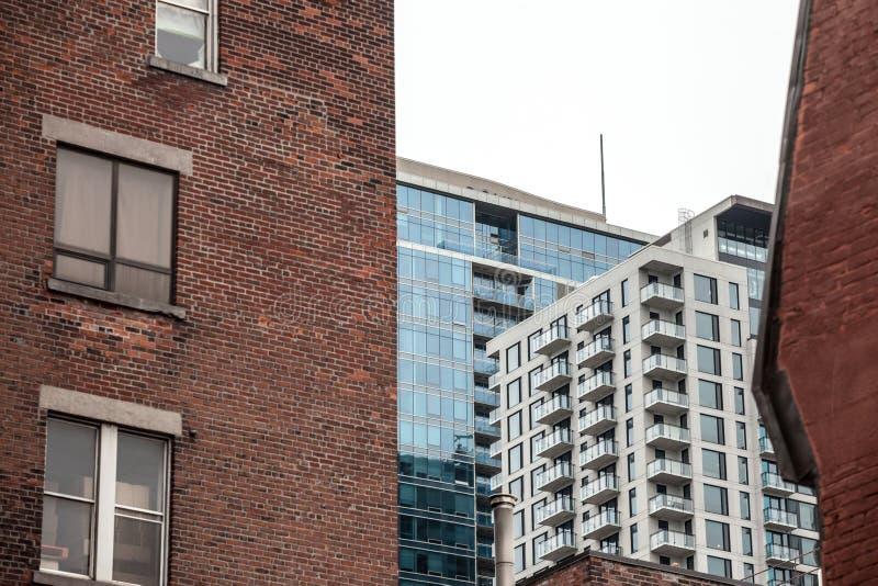 Grattacieli residenziali nel dowtown di Montreal, visto da una via vicina della citt? principale della Quebec immagini stock libere da diritti