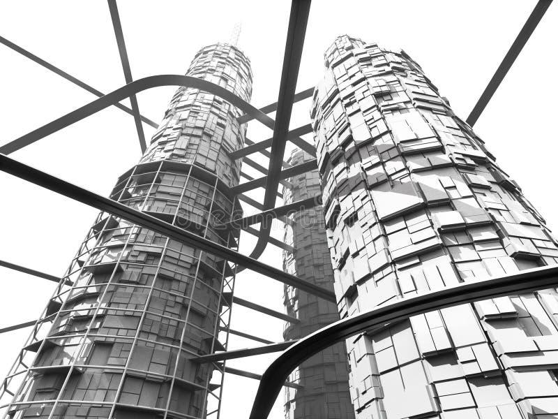 Download Grattacielo E Monorotaie Futuristici Di Industria Illustrazione di Stock - Illustrazione di background, elemento: 3893094