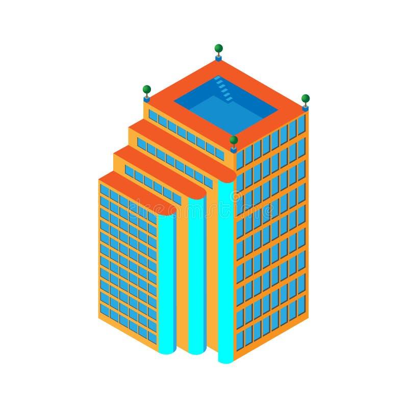 Grattacielo isometrico piano 3d centro di affari con uno stagno sul tetto e su tre ascensori Isolato su priorità bassa bianca per illustrazione vettoriale