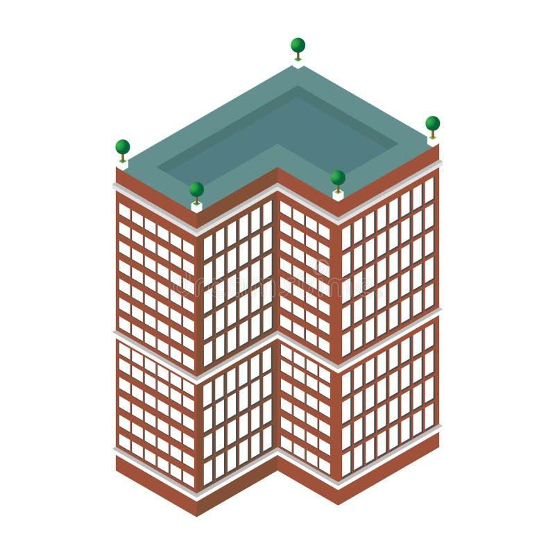 Grattacielo isometrico piano 3d Centro di affari Isolato su priorità bassa bianca per le icone, mappe illustrazione vettoriale