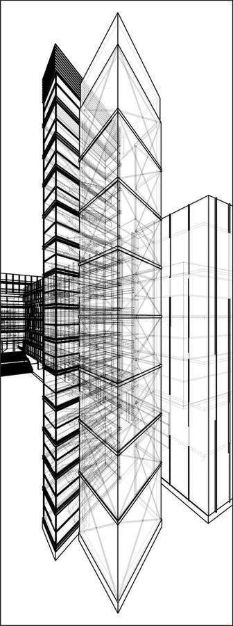 Grattacielo urbano con la linea nascosta vettore 173