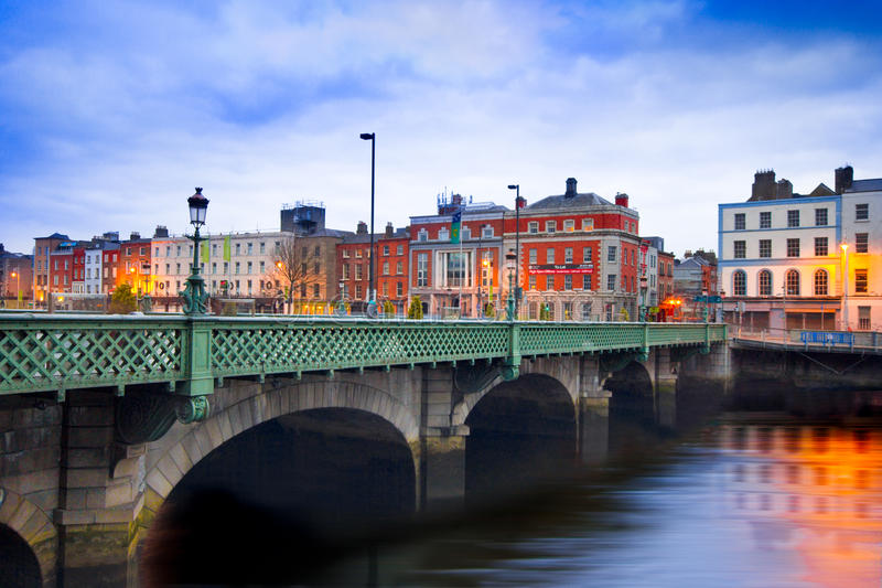 Grattan Bridge. Dublin, Ireland - April 1, 2013: Grattan Bridge in Dublin, Ireland on the evening of April 1, 2013. This historic bridge spans the River Liffey royalty free stock photos