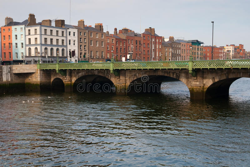 Grattan Bridge on River Liffey in Dublin. City of Dublin skyline in Ireland, Grattan Bridge on River Liffey, cityscape royalty free stock photography
