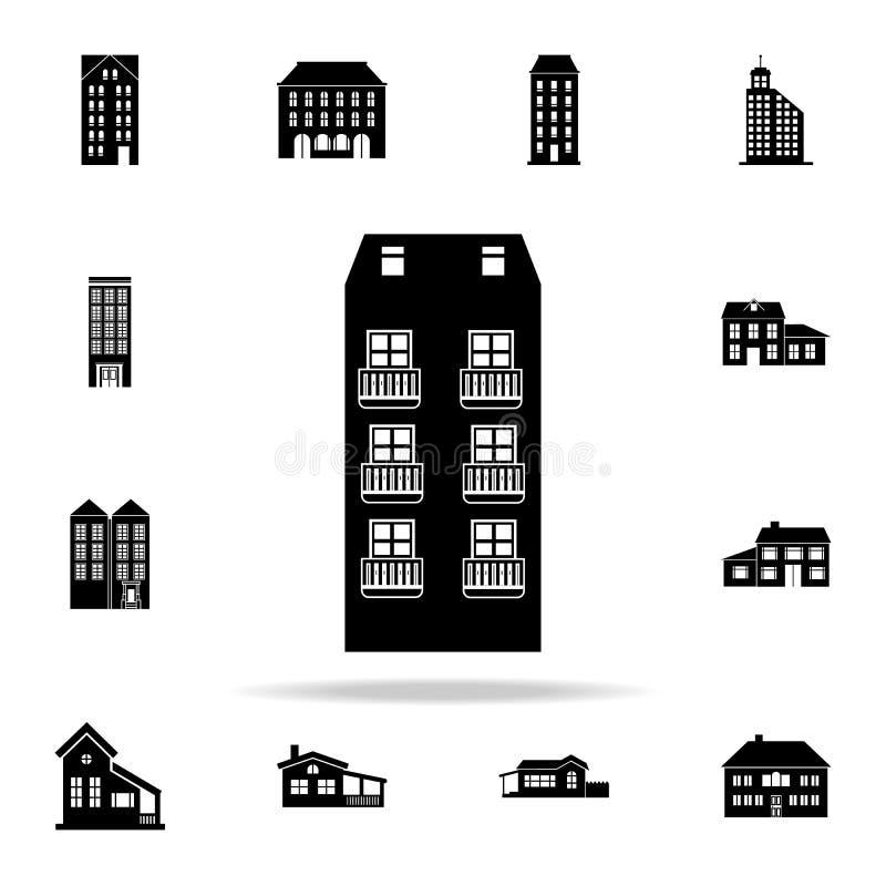 Gratte-ciel avec l'icône de balcons logez l'ensemble universel d'icônes pour le Web et le mobile illustration stock