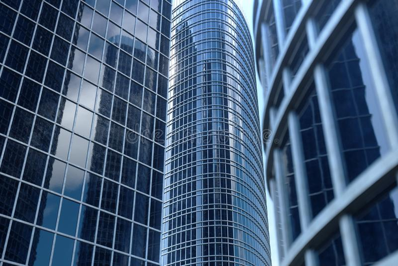 gratte-ciel bleus de l'illustration 3D d'une vue d'angle faible Bâtiments en verre d'architecture hauts Gratte-ciel bleus dans de photographie stock libre de droits