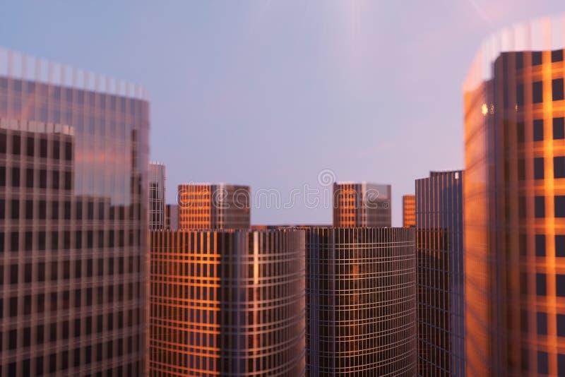 gratte-ciel de l'illustration 3D d'une vue d'angle faible Bâtiments en verre d'architecture hauts Gratte-ciel dans un secteur de  photos stock
