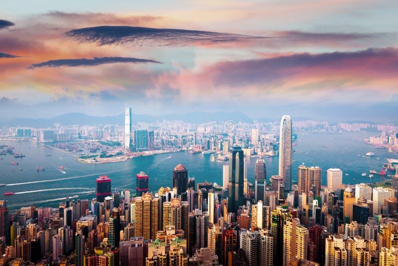 Gratte-ciel de ville de district des affaires de Hong Kong photographie stock