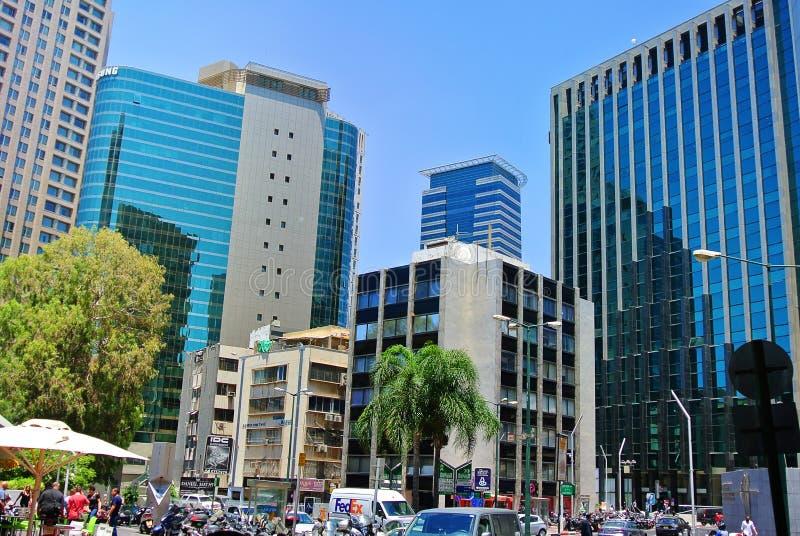 Gratte-ciel du centre d'affaires de Tel Aviv Diamond Exchange de l'Israël images libres de droits