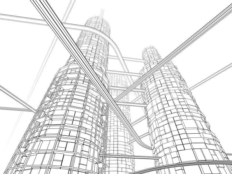 Gratte-ciel futuriste d'industrie illustration de vecteur