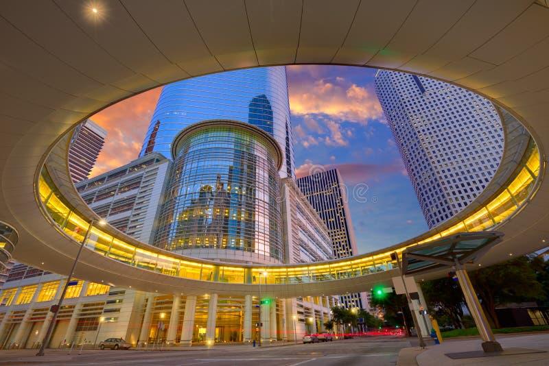 Gratte-ciel le Texas de coucher du soleil de Houston Downtown images stock