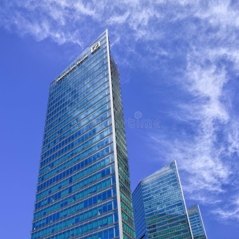 Gratte-ciel logeant les sièges sociaux de Deutsche Bank dans Pékin, Chine image libre de droits