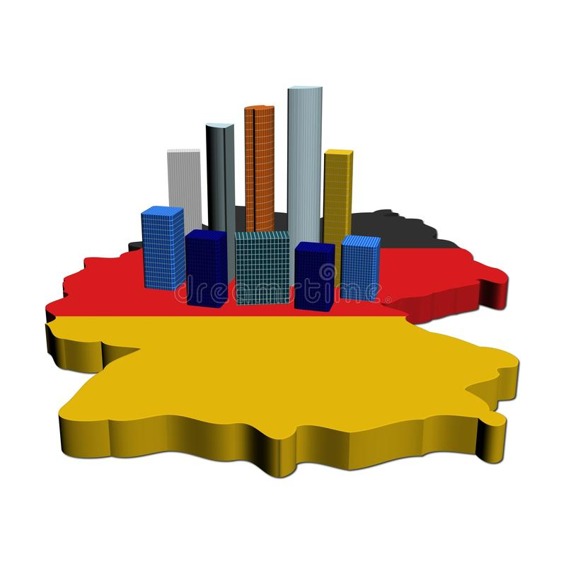 Gratte-ciel sur l'indicateur de carte de l'Allemagne illustration de vecteur