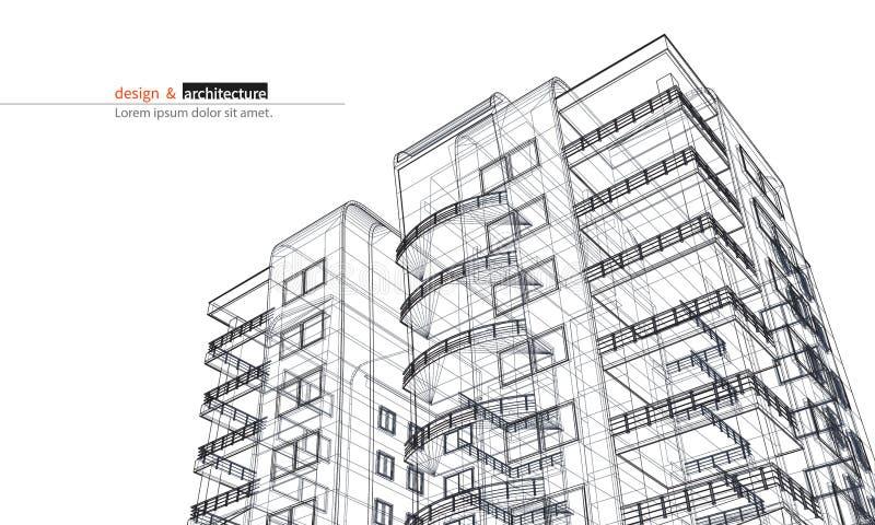Gratte-ciel urbanistique 3D abstraits rendent de la structure de cadre de fil de bâtiment idée graphique de construction pour le  illustration stock