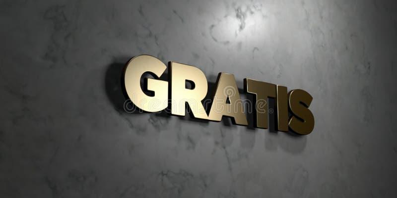 Gratuitement - signe d'or monté sur le mur de marbre brillant - 3D a rendu l'illustration courante gratuite de redevance illustration de vecteur