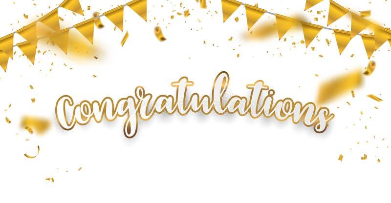 Gratulacje świętowania Złocisty tło z confetti ilustracja wektor