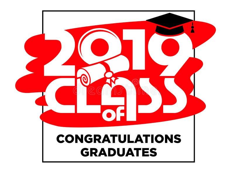 2019 gratulacje absolwentów wektoru karta, koszulka projekt ilustracja wektor