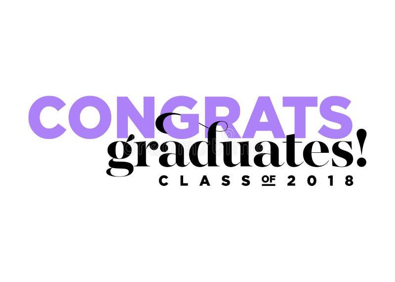 Gratulacje absolwentów klasa 2018 Wektorowych logów ilustracja wektor