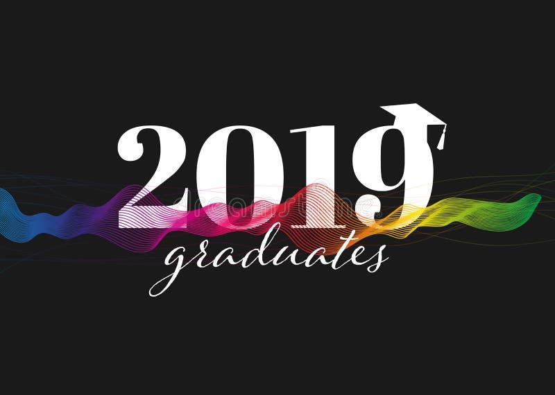 Gratulacje absolwent?w klasa 2019 Kreatywnie Partyjny zaproszenie, sztandar, plakat, karta Tło projekt z typografią i royalty ilustracja