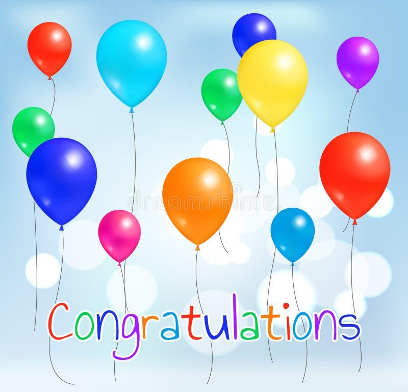 Gratulacje balonów Pocztówkowy Kolorowy Latać royalty ilustracja