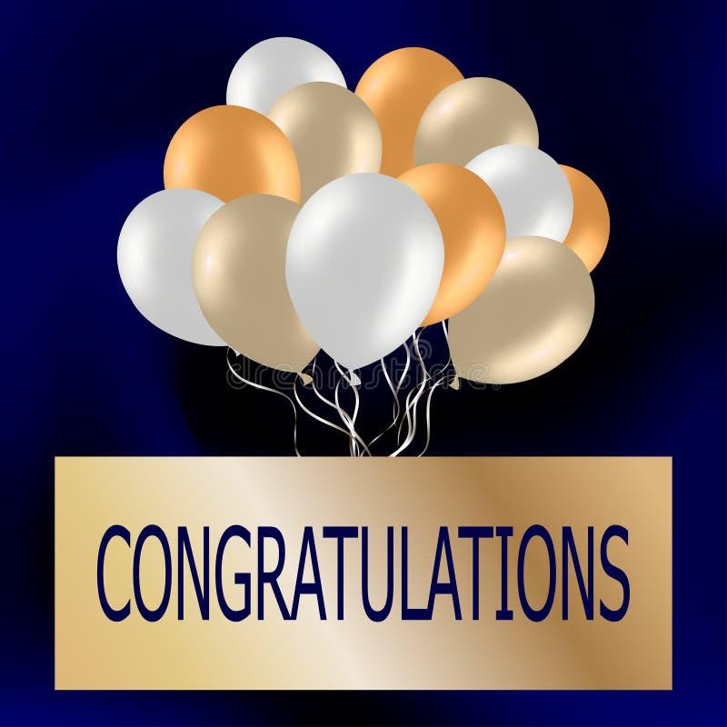 Gratulacje gręplują z ślicznymi kolorowymi balonami Świąteczny błękitny b obraz royalty free