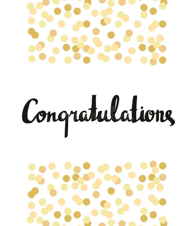 Gratulacje kaligrafia Gratulacje tło z złocistymi confetti