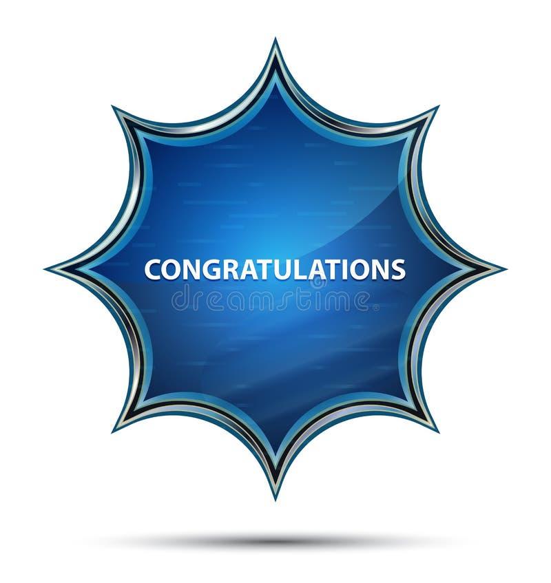 Gratulacje magiczny szklisty sunburst błękitny guzik ilustracja wektor