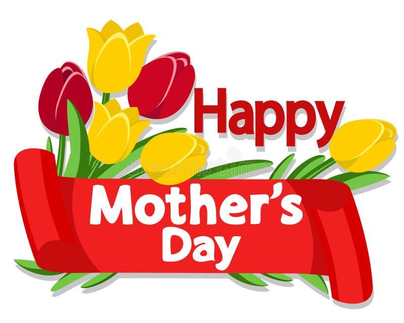 Gratulacyjny faborek z tulipanami na matka dniu royalty ilustracja
