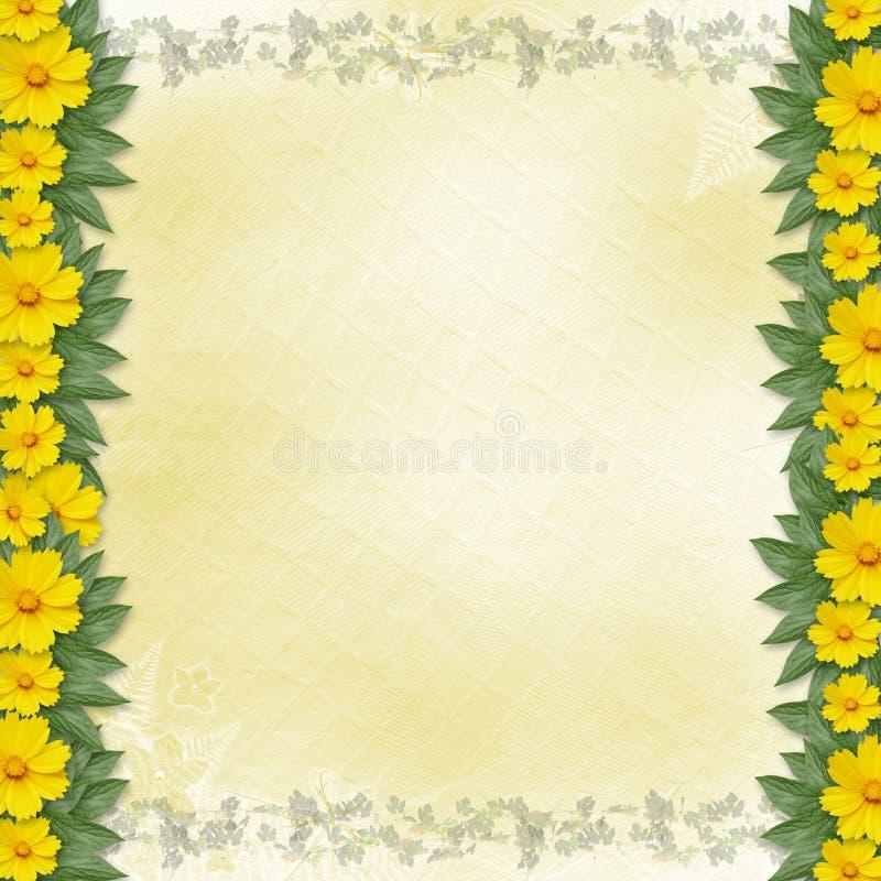 gratulacyjnych kwiatów ramowy kolor żółty royalty ilustracja