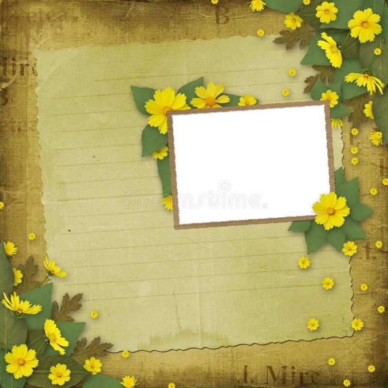gratulacyjnych kwiatów ramowy kolor żółty ilustracji
