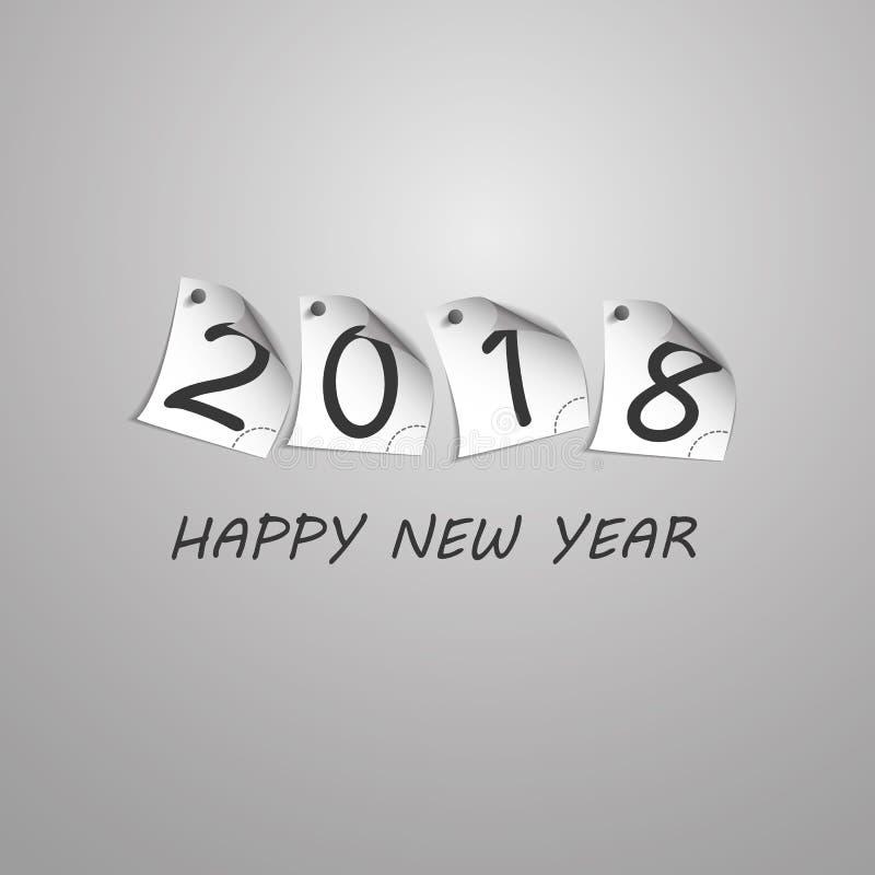 Gratulationer - den abstrakta silverGrey New Year Card Template designen med tal skrivev ut på krullad klämd fast anmärkningslegi stock illustrationer