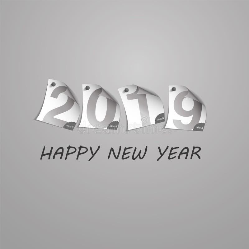 Gratulationer - den abstrakta silverGrey New Year Card Template designen med tal skrivev ut på krullat klämt fast anmärkningspapp stock illustrationer