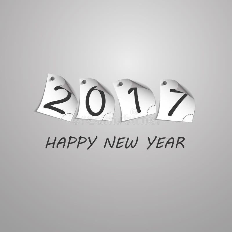 Gratulationer - den abstrakta silverGrey New Year Card Template designen med tal skrivev ut på krullat klämt fast anmärkningspapp vektor illustrationer