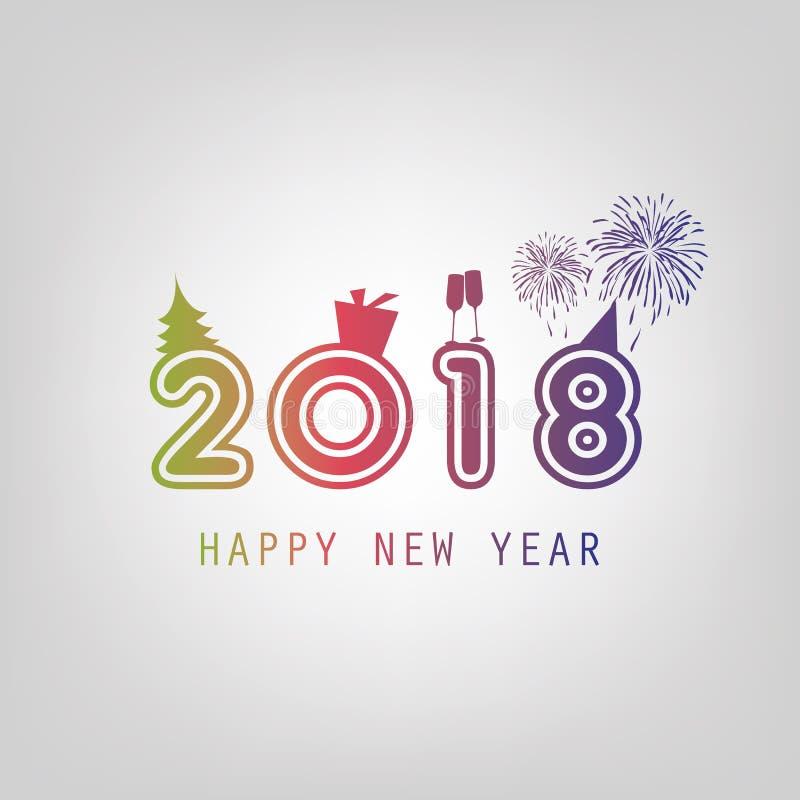 Gratulationer - för kortbakgrund för nytt år mall - 2018 vektor illustrationer