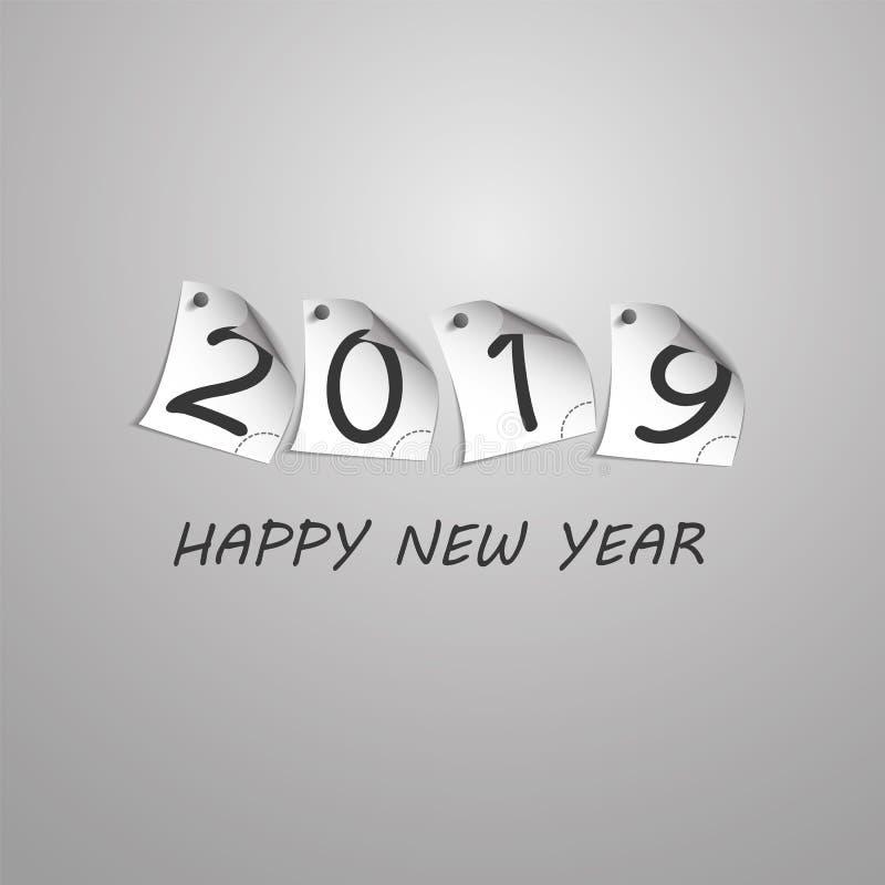 Gratulationer - göra sammandrag den silverGrey New Year Card Template designen med tal som skrivs ut på krullat klämt fast anmärk royaltyfri illustrationer